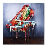 楽器キャンバスポスタープリントピアノ壁アート絵画北欧の装飾写真現代の家の装飾-28x28インチフレームなし