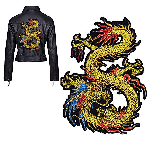 BFY Gold Dragon Embroidered Patch Applique Chinese Dragon Applique Sew on or Ironon Patches Better Than Rose Embroidery for DIY Chinese Dragon Costume