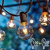 Lichterkette Außen,G40 2 Stück 17M Gesamt 100 Birnen+20 Ersatzbirnen Lichterkette Gluehbirne Aussen,OxyLED G40 Lichterkette Garten,IP44...