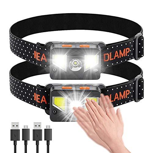 bedee Linterna Frontal LED Recargable, Linterna Cabeza 8 Modos de Iluminación, Linterna...