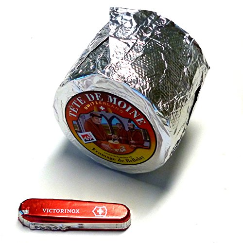 Tete de Moine Käse Classic AOP ganzer Laib ca 850g + Schweizer Schokoladen Taschenmesser