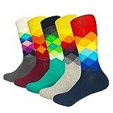 HIWEAR Herren 5er Pack Bunt gemustert Design Rich Cotton Comfort Kleid Kalbs Socken UK 6-14...