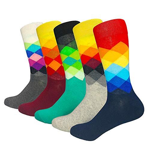 HIWEAR Herren 5er Pack Bunt gemustert Design Rich Cotton Comfort Kleid Kalbs Socken UK 6-14 (New-funky12)