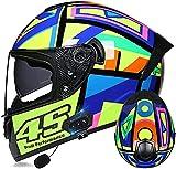 Motorbike Helmet Casco de motocicleta Cascos de carreras de cara completa con Bluetooth Aprobado por ECE / DOT, Casco de motocicleta de cara completa con doble visera antivaho para mujeres, hombres y