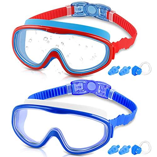 COOLOO Gafas de natación para niños de 3 a 15 años, paquete de 2 gafas de natación para niños con cubierta de la nariz, sin fugas, anti-niebla, resistente al agua