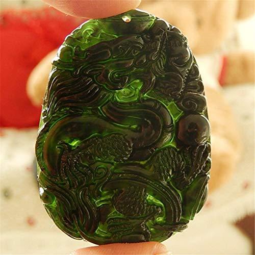Banane Colgante de jade chino negro verde jade natural dragón Lucky colgante collar tallado a mano adornos de escritorio para estudio oficina artesanía amuleto de buena suerte