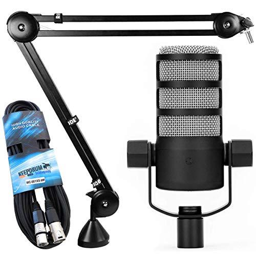 Rode Podmic - Microfono dinamico da podcast + treppiede da tavolo con braccio snodato PSA1