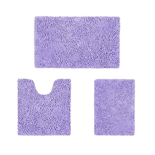 HOMEIDEAS 3 Pieces Bathroom Rugs Set Ultra Soft Non Slip and Absorbent Chenille Bath Rug, Lavender Bathroom Rugs Plush Bath Mats for Tub, Shower, Bathroom