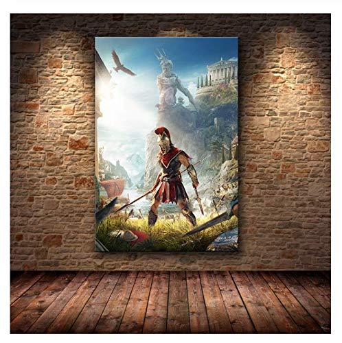 H/F Assassin's Creed Odyssey Poster Decorazione Pittura HD su Tela Pittura su Tela Arte Poster E Stampe Senza Cornice (15,7 X 19,6 Pollici) G8556
