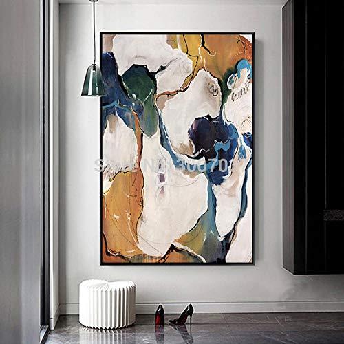 LYFCV Novedades Modernas Arte de la Pared Pintura Abstracta sobre Lienzo Diseño Arte Carteles Pintura Colorida para decoración del hogar 60X80cm 24x32 Pulgadas Sin Marco