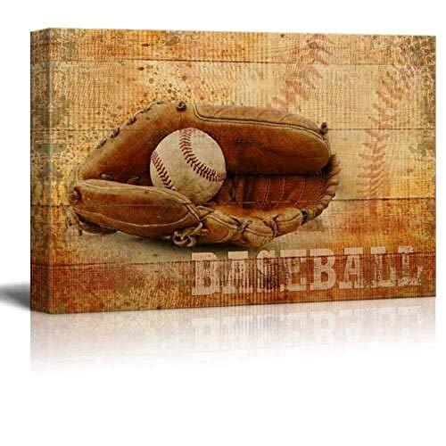 Drucken Sie Wandkunst Leinwand Rustikaler Baseballhandschuh und Ball Vintage Holzmaserung Über das Malen Leinwand drucken Wand Leinwandplakate Wandbild malen für Esszimmer Modernes abstrakte