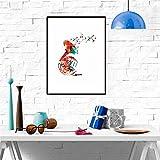 Colorido silueta de cuerno francés cuadro de pared abstracto geométrico instrumento musical lienzo pintura pared arte decoración del hogar / 30x40cm sin marco