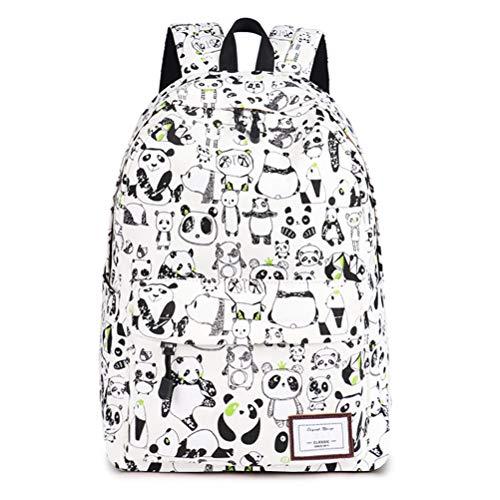 Znvmi Schulrucksack Rucksack Mädchen Jungen Canvas Schultasche Panda Druck Kinderrucksack Teenager Lässiger Daypack - Weiß