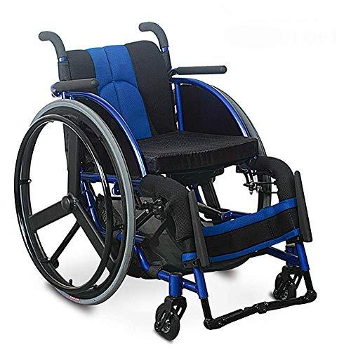 LLKK - Sillas de ruedas autopropulsadas de aluminio ligero y plegable, dispositivo de transporte para silla de ruedas con cinturón de seguridad, frenos de liberación rápida, ruedas traseras dfhs