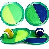 Juego de Lanzamiento de Paleta y Bola de Captura Set de Discos Juego de Paleta de Captura y Lanzar con Paletas y 2 Bolas, Juguetes de Juego de Captura de Paleta 8 Pulgadas (Azul Verde, Amarillo Verde)