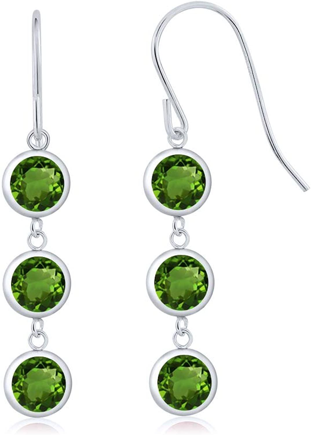 3.00 Ct Round Green Chrome Diopside 925 Sterling Silver Three Stone Dangle Earrings