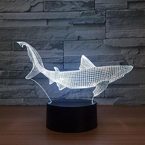 Jiushixw 3D-acryl-nachtlampje met afstandsbediening, kleurverandering, tafellamp, nieuwe haak, visserij, aanval, kleine party, nachtkastje, landelijke stijl