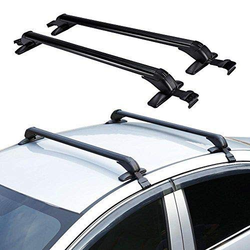 LOYALHEARTDY Car Luggage Carrier, Universal Cars Top Roof Rack Cross Bar Set Luggage Carrier Adjustable Window Frame 2PC with Lock Anti Theft