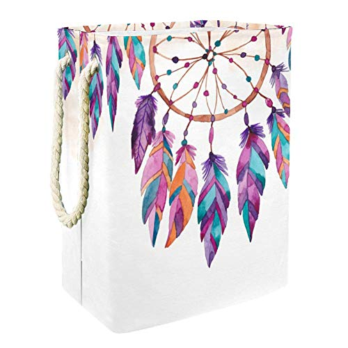 Laundry Basket with Handles Large Oxford Laundry Hamper Storage Built-in Lining with Detachable Brackets Hampers for Toys Clothing Organization- Boho Style Dream Catchers
