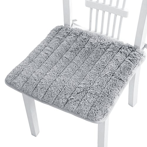 """Ultra Soft Cozy Plush Chair Pads with Self Tie Anti-Slip Square Winter Warm Seat Cushion Comfortable Dining Chair Cushion Mat Cover for Home Office Patio Dormitory Library Bar, 17.8"""" x 17.8"""" (Grey)"""