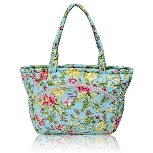 Ringarose, borsa floreale trapuntata in 100% cotone, lavabile in lavatrice, con cerniera multi tasca, borsa a tracolla o a mano–Summer Bloom