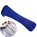 Utensilios portátiles de 8 piezas,juego de cubiertos de camping de acero inoxidable con bolsa organizadora que incluye cuchillo,tenedor,cuchara,palillos,cepillo de limpieza,pajitas,bolsa portátil …