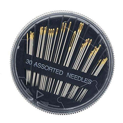 Kousa Nähnadel- und Garn-Set, Zubehör, 30 Stück/Box, große Öse, handgenähte schwarze Nadelbox, 2,9 cm, 3,6 cm, 4,1 cm, 4,2 cm, 4,6 cm und 5 cm Sticknadeln.