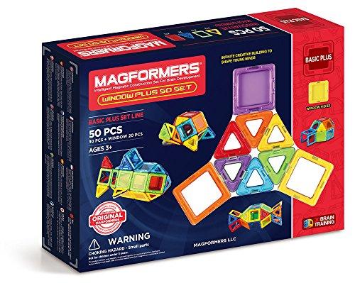 Magformers Basic Window Plus Set (50 Piece) Magnetic Building Blocks, Educational Magnetic Tiles Kit , Magnetic Construction STEM Toy Set