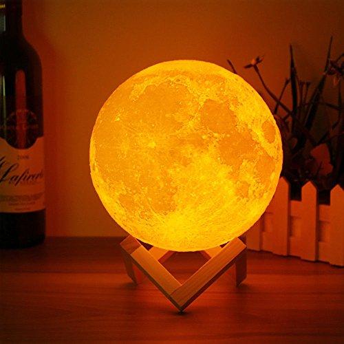 LEDMOMO Luz de Luna de Impresión 3D Luz Noctura Control USB de carga 8cm Decoración para Casa Habitación