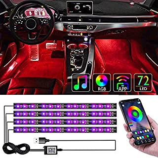 CTFIVING [2021 UPGRADED] Car Interior Lights WIth App Control 4pcs Million Color 72 LED Multicolor Music Car LED Strip Lights Car Atmosphere Lights , LED Strip for TV with Sound Active Function (USB PORT) (B08RXQCZKV) | Amazon price tracker / tracking, Amazon price history charts, Amazon price watches, Amazon price drop alerts