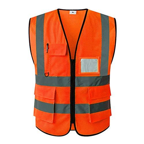 Haodasi Hohe Sichtbarkeit Mehrere Taschen Warnweste mit Reflektierend Band Sicherheit Weste Jacket Arbeitskleidung