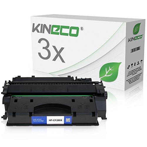 3 Kineco Toner kompatibel zu HP CF280X 80X Laserjet Pro 400 M401dn, M401dw, MFP M425dn, M425dw - Schwarz je 6.900 Seiten