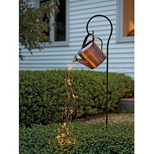 Star Shower Garden Art Light Decoration,Led String Lights Watering Can Shape Decor,Watering Can Fairy Lights Waterproof Outdoors Sculptures Statues for Yard Lawn Backyard