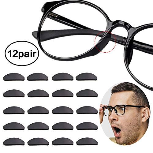 Reccisokz 12 Paare Adhesive Nasenpads Anti Rutsch Silikon Brillen Pads für Gläser Sonnenbrille Brille (1 mm Schwarz)