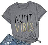 JINTING Aunt Vibes Shirt for Women Short Sleeve Letter Printed Auntie Tee Shirts Tops Gray