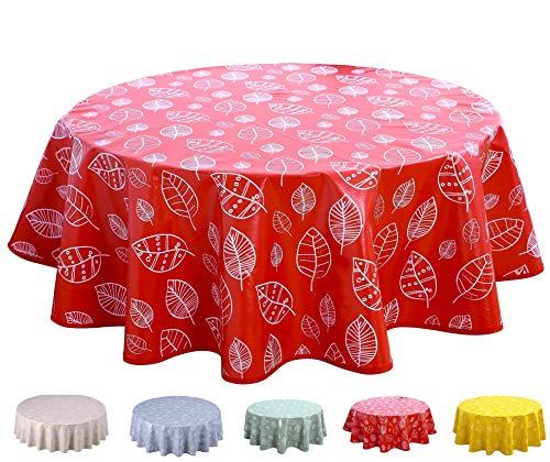 Home Direct Mantel de Hule, Redondo 160 cm Hojas Rojo