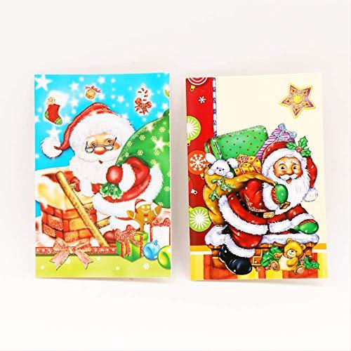 Wenskaarten BLTLYX 18 stks/pak Cartoon Kerstman Kerstgroet Ansichtkaart Kerstkaart Kerstdecoratie Familiegift 14,3 * 9,5 cm Zoals afgebeeld