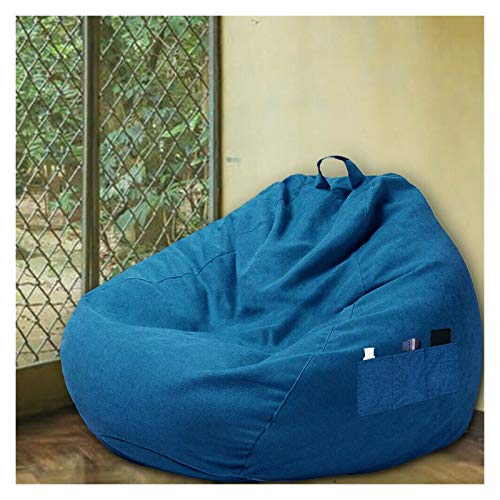 WHHK Große Sitzsack Sofa Stühle Bezüge Ohne Füllstoff Lazy Sofas Stuhl Möbel Couch Wohnzimmer Schlafzimmer Home Tatami Liegestuhl (Color : Blue, Size : 70x 80 cm)