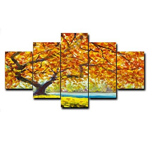 rkmaster-Autumn Leaves Landschap Kunstolieverfschilderij linnen doek druk bed woonkamer muur decoratie afbeelding