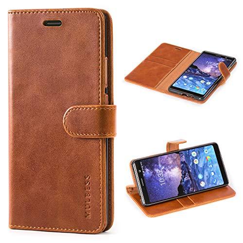 Mulbess Handyhülle für Nokia 7 Plus Hülle Leder, Nokia 7 Plus Handy Hüllen, Vintage Flip Handytasche Schutzhülle für Nokia 7 Plus Hülle, Braun