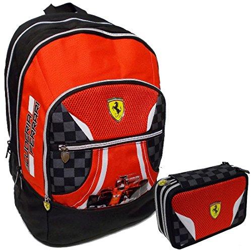 Ferrari Kit Zaino Organizzato + Astuccio completo 3 zip