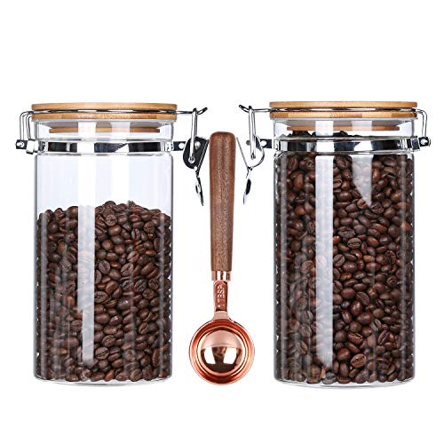 KKC Glass Storage Jars with Airtight Locking Clamp Lids,Glass Coffee Bean Storage Containers Airtight Lid,Nuts,Candy Jars,Sealed Kitchen Glass Storage Containers Bamboo Lids with Spoon,40 FLoz,2 Piece