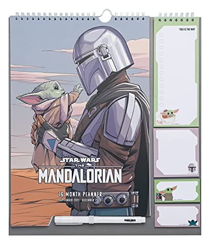 Calendario de pared The Mandalorian, The Child - Planificador mensual Star Wars - Planificador Grupo Erik│Calendario agenda de pared 16 meses - Planner ideal la vuelta al cole - Calendario familiar