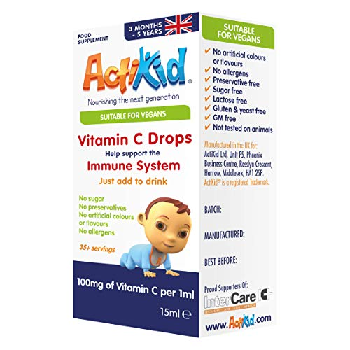 ActiKid Vitamin C Drops 100mg per 1ml - 15ml for Infants and Children | Vegan | Sugar Free | Preservative Free | No Allergens | Baby | Vitamin C Supplement | Immune Support