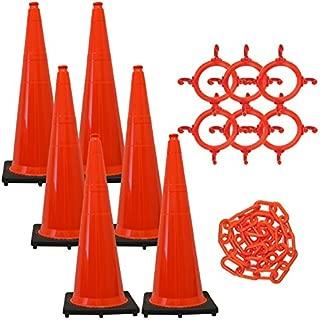 Mr. Chain Traffic Cone and Chain Kit, Traffic Orange, 36-Inch Height (97213-6)