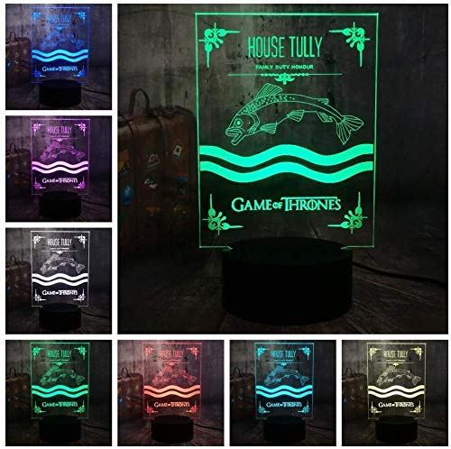 ZWANDP Luz de noche 3D Juego de tronos Casa Tully Canción de hielo y fuego Lámpara de escritorio moderna de 7 colores Decoración para el hogar para fanáticos de películas de vacaciones