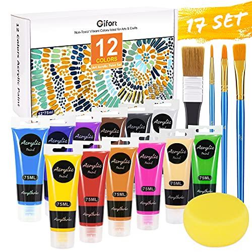 Gifort Pintura Acrílica, 12 Colores x 75 ML Kit de Pintura Acrílica con 4 Pinceles para Lienzo Cerámica Tela Madera, Pinturas Acrilicas para Niños Artistas