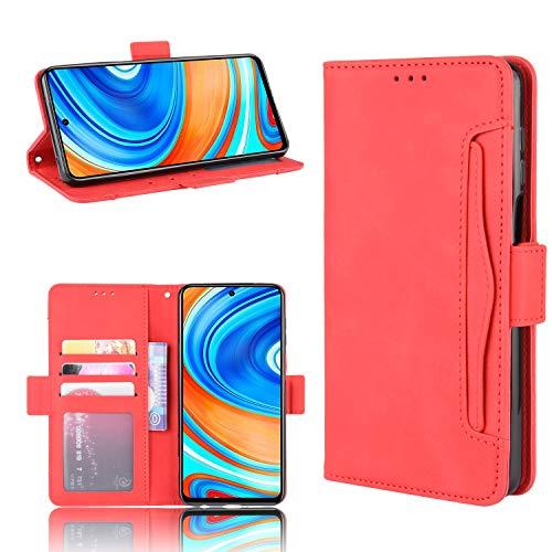SPAK Xiaomi Redmi Note 9S/9 Pro/9 Pro MAX Funda,Ultra Slim PU Leather Flip Cubierta con Función de Soporte Protectora Carcasa Caso para Xiaomi Redmi Note 9S/9 Pro/9 Pro MAX (Rojo)