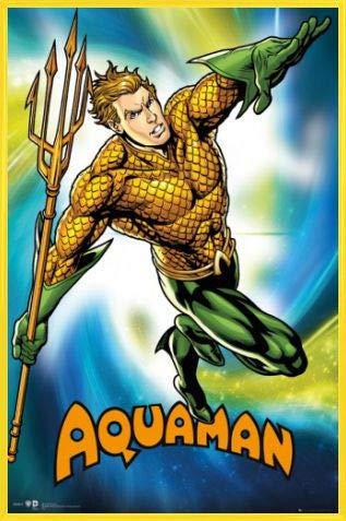 1art1 Aquaman Póster con Marco (Plástico) - Aquaman, DC Comics (91 x 61cm)