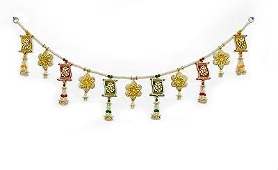 Swayam Exports Toran horizontal de 36 pulgadas de largo fabricado por madera Ganapati y flores hechas a mano doradas, adecuadas para puerta de entrada, ventana, cenefas, puerta, muy duradero, hecho con madera, madera Ganesh.
